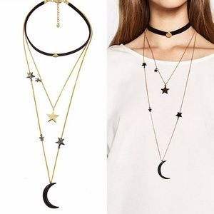 Jewelry - 4-in-1 Moon and Star Choker Necklace